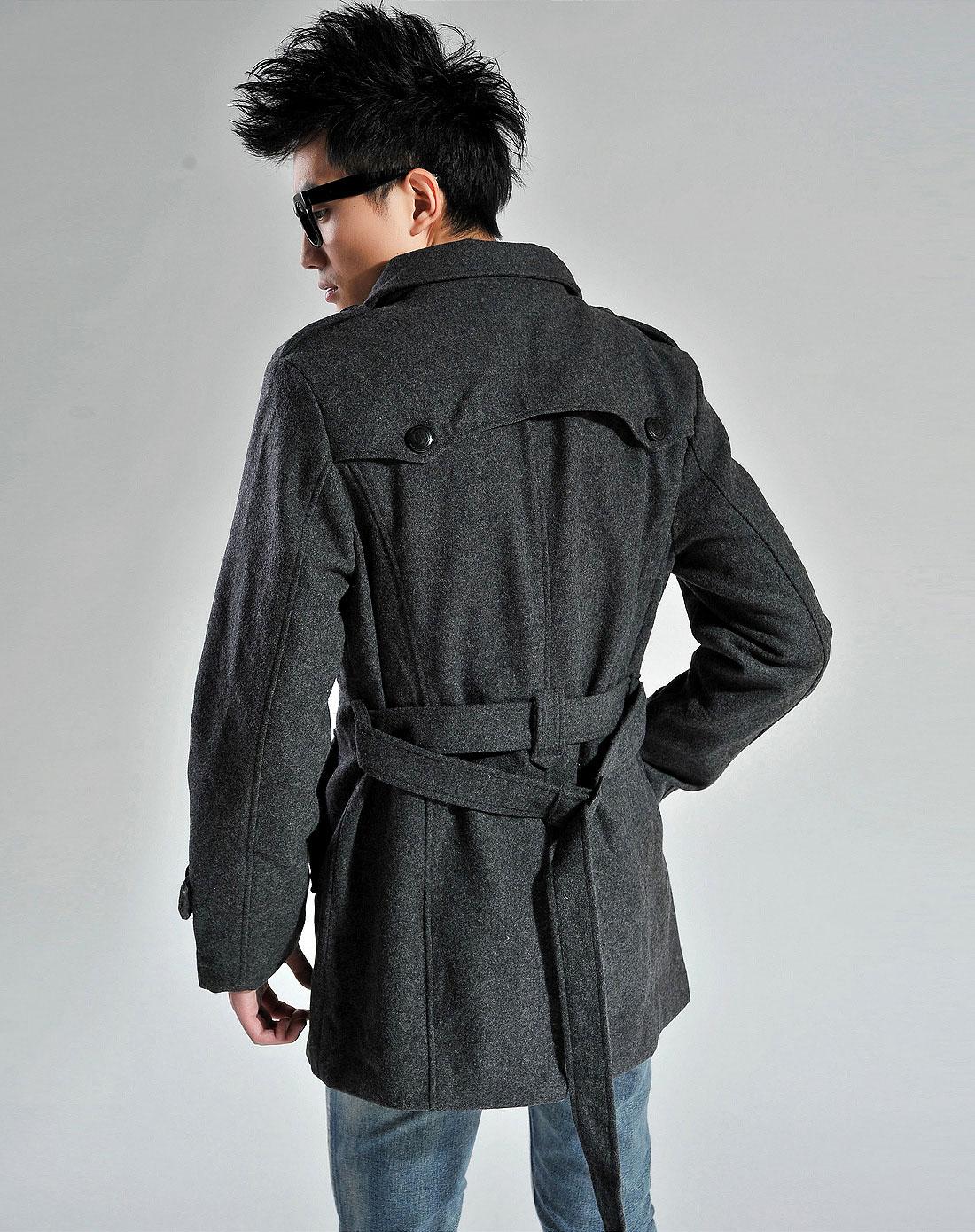 欧莱诺olomo男装专场-男灰色男款风衣式呢料大衣