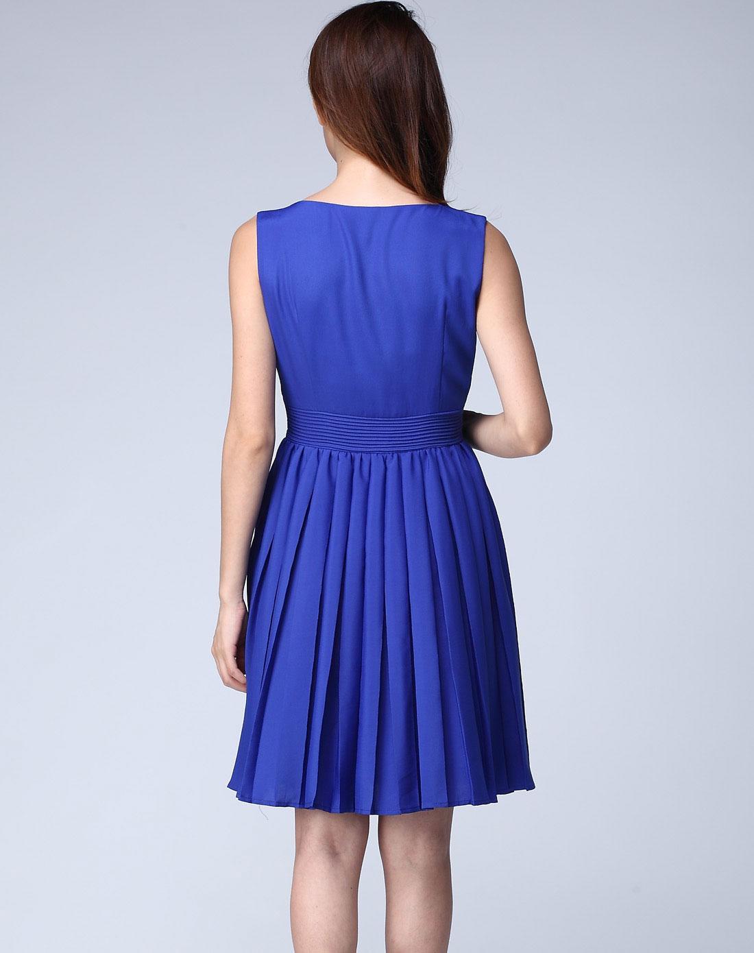 蓝涩连衣裙女夏