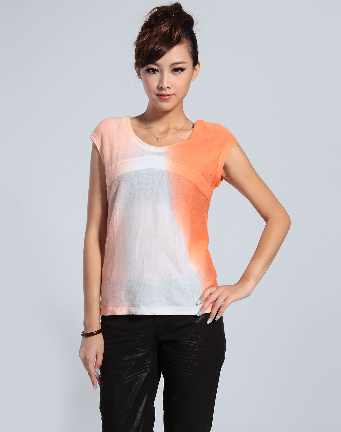 卡秀cushow橙/白色渐变色无袖针织衫