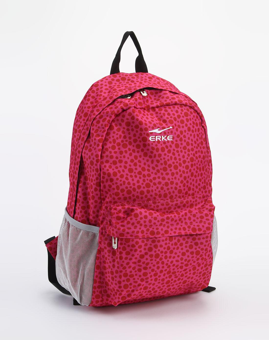 鸿星尔克erke女款玫红色时尚双肩背包10312201044-20