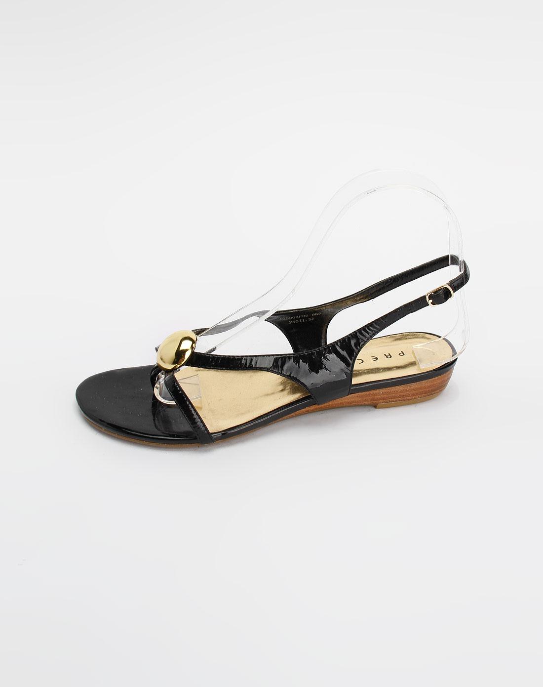 黑/金色休闲凉鞋_安玛莉precis官网特价1.1-4.5折