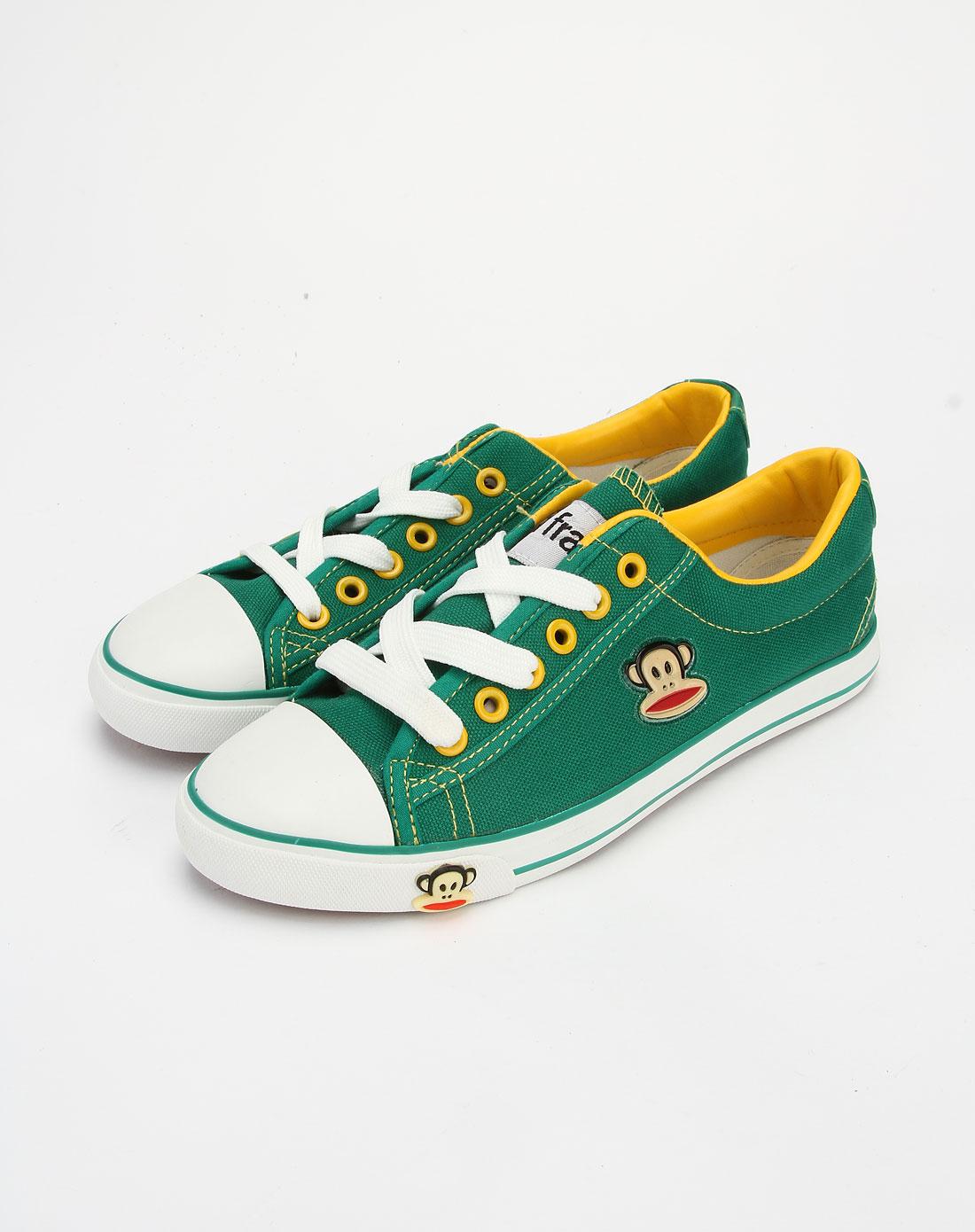 frank休闲鞋专场女款绿色系带休闲帆布鞋