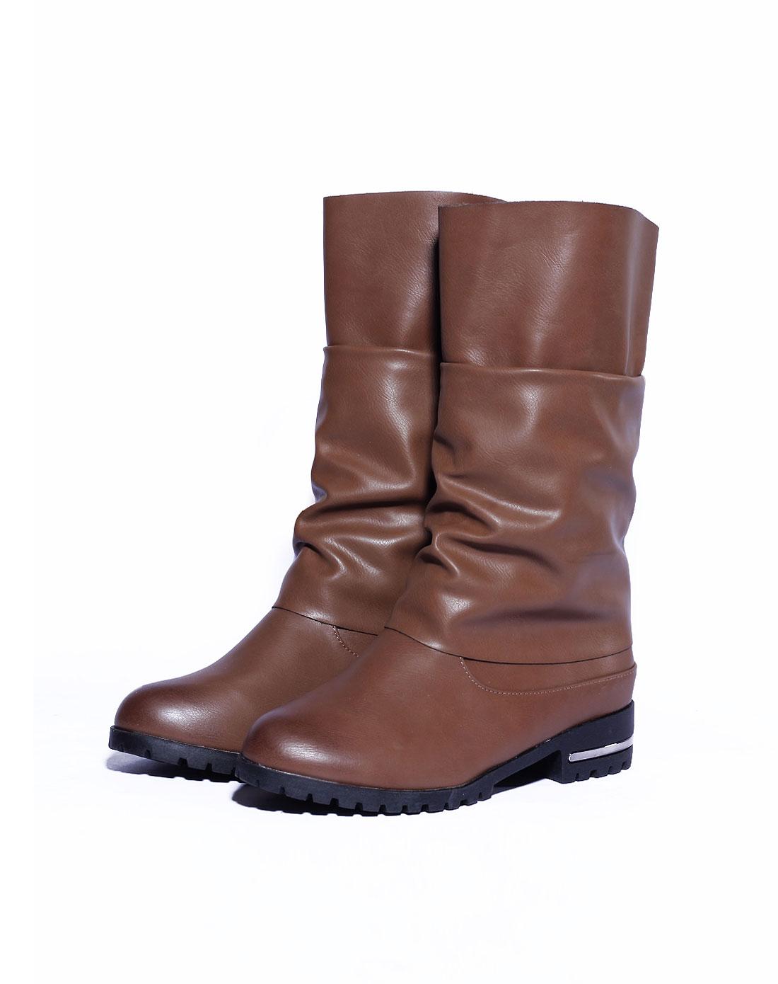 在喜caihee卡其色褶皱短靴z15542815009