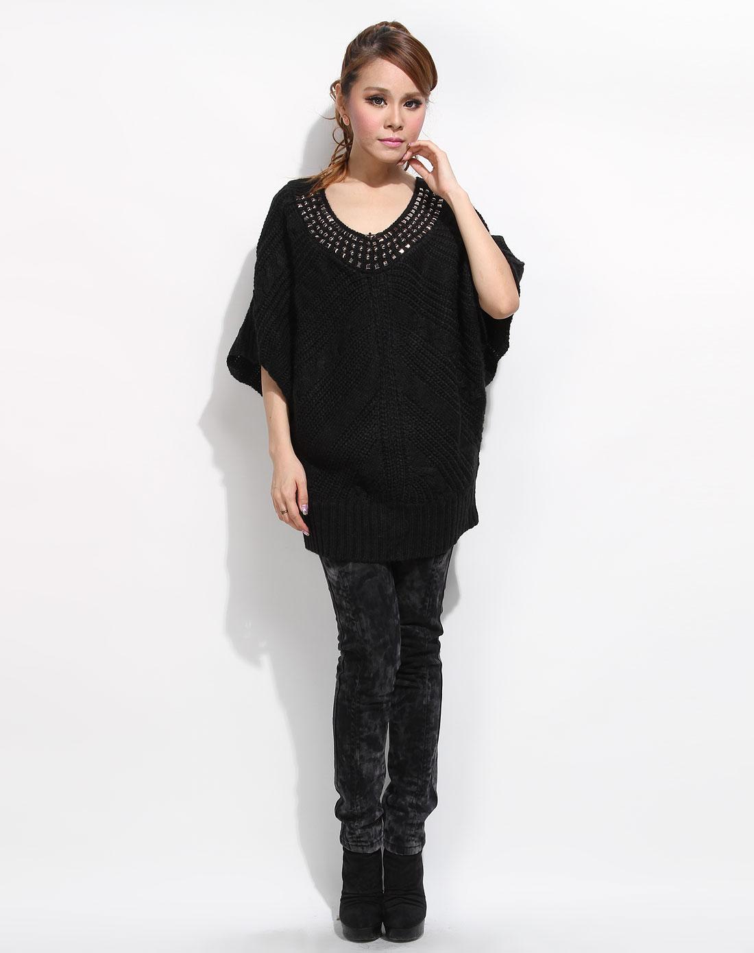苏西susie女装专场-黑色领口亚克力蝙蝠袖毛衫