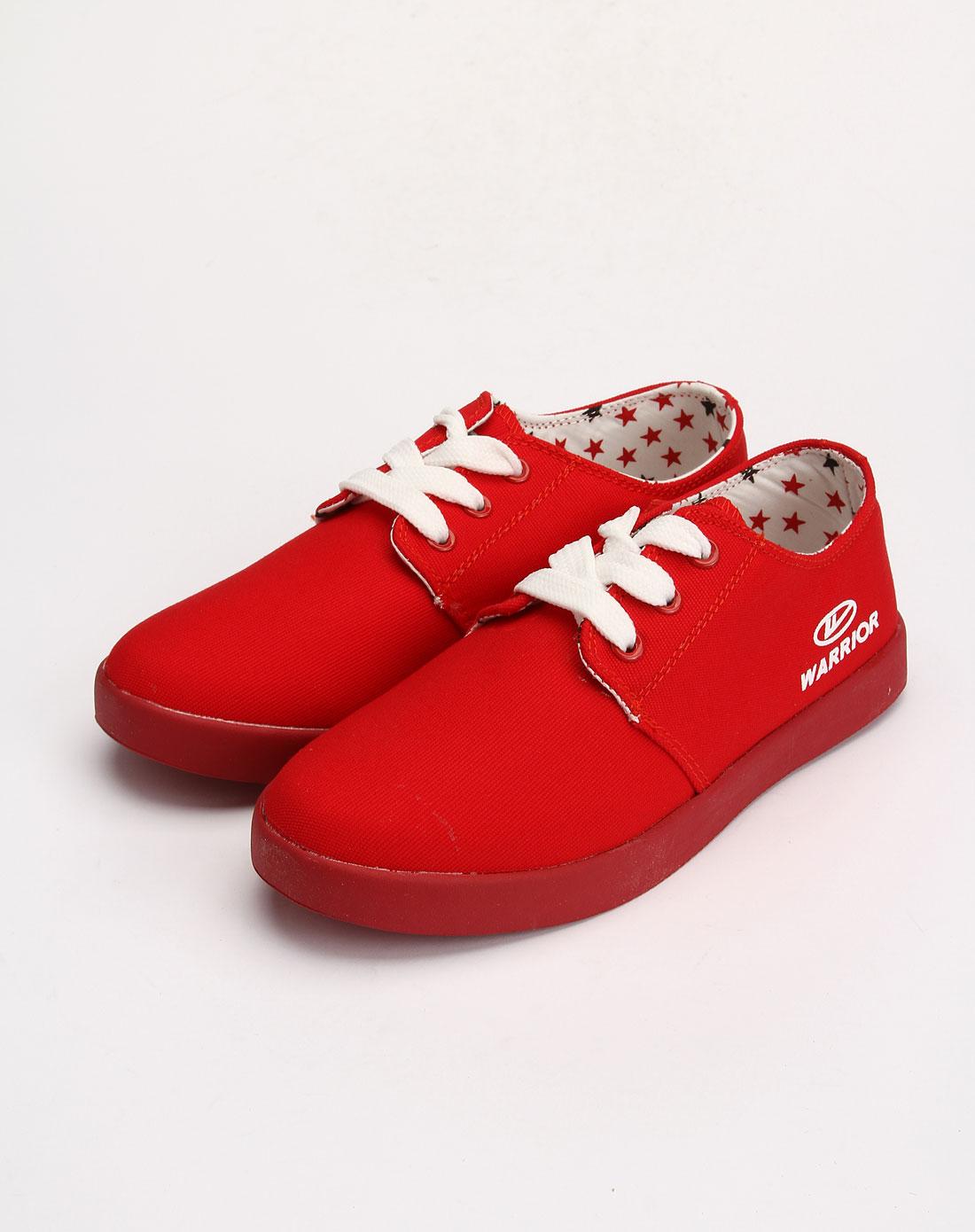 回力warrior男女鞋女款红色时尚系带休闲鞋2265-78