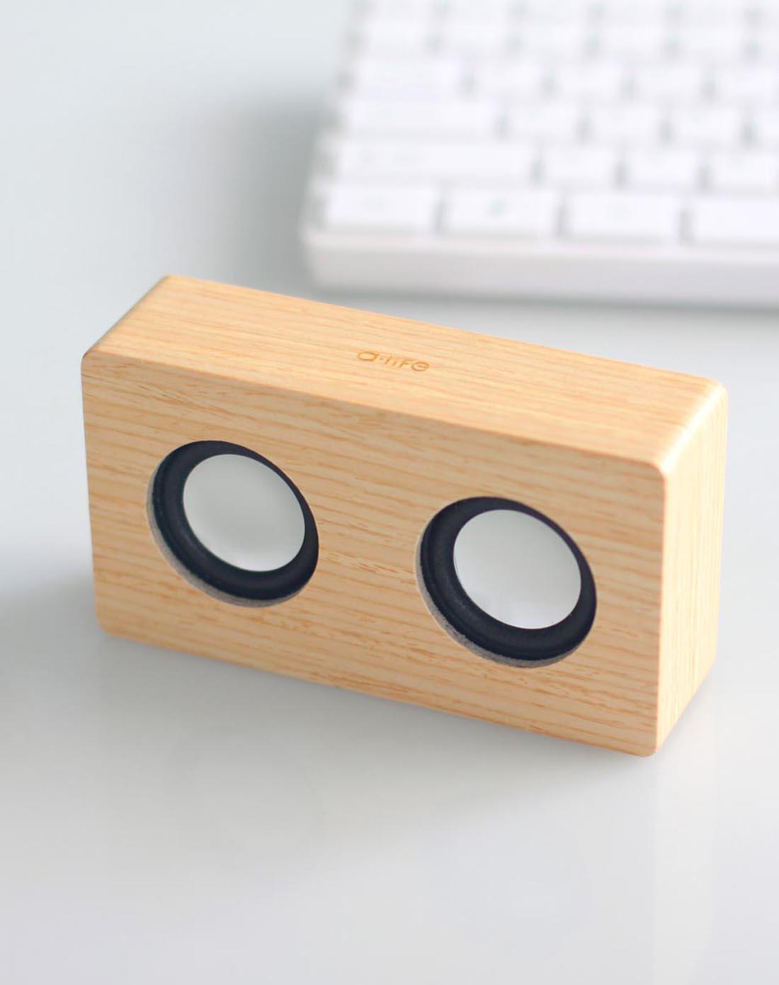 木原色长方形迷你型木质音箱