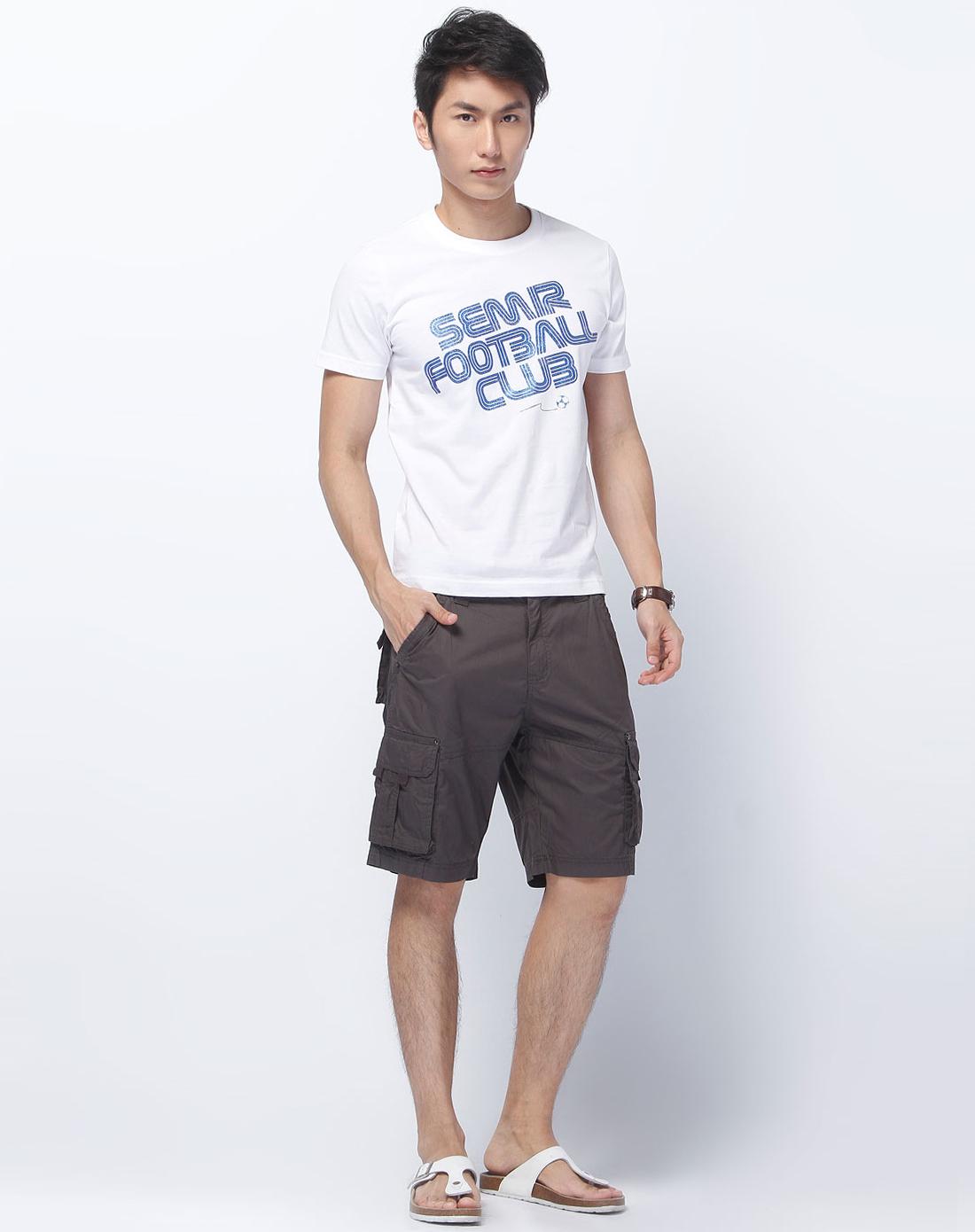 白色烫图时尚短袖t恤