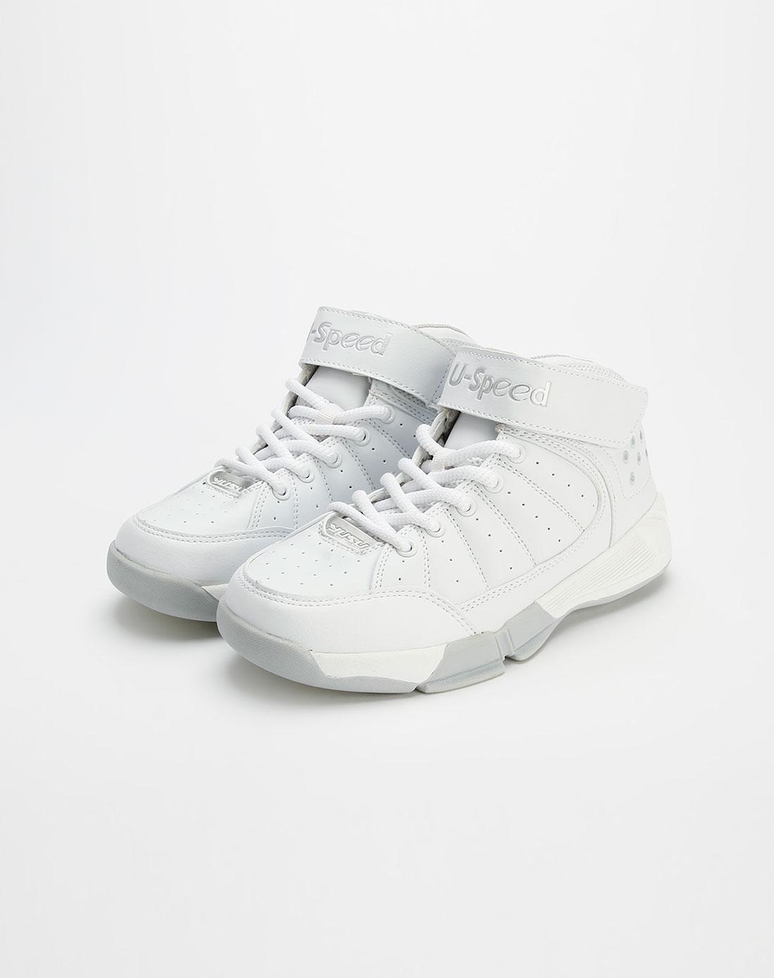 宇速男款白色篮球鞋