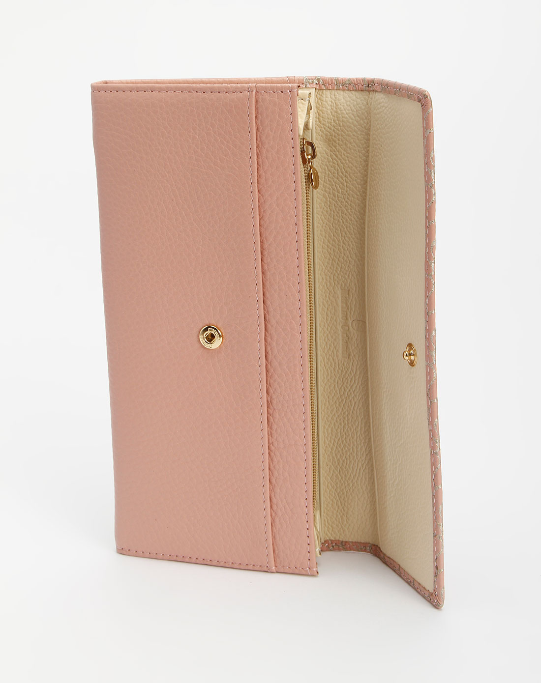 粉色盖头双风琴长款钱包