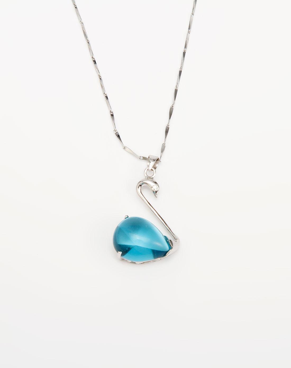 熣璨bright银/蓝色天鹅吊坠项链
