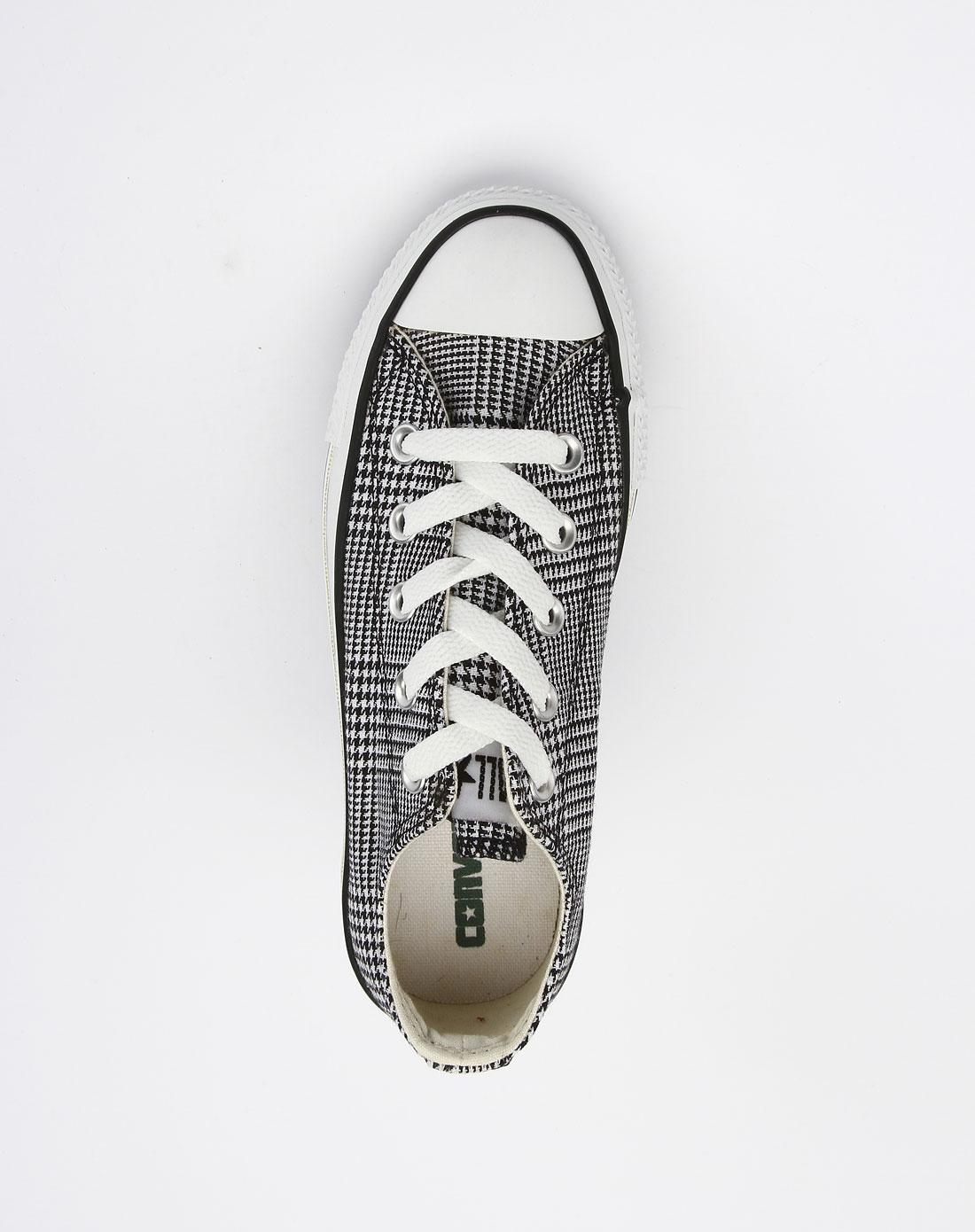 [ 匡威 ] 女款黑白色潮流千鸟纹帆布鞋