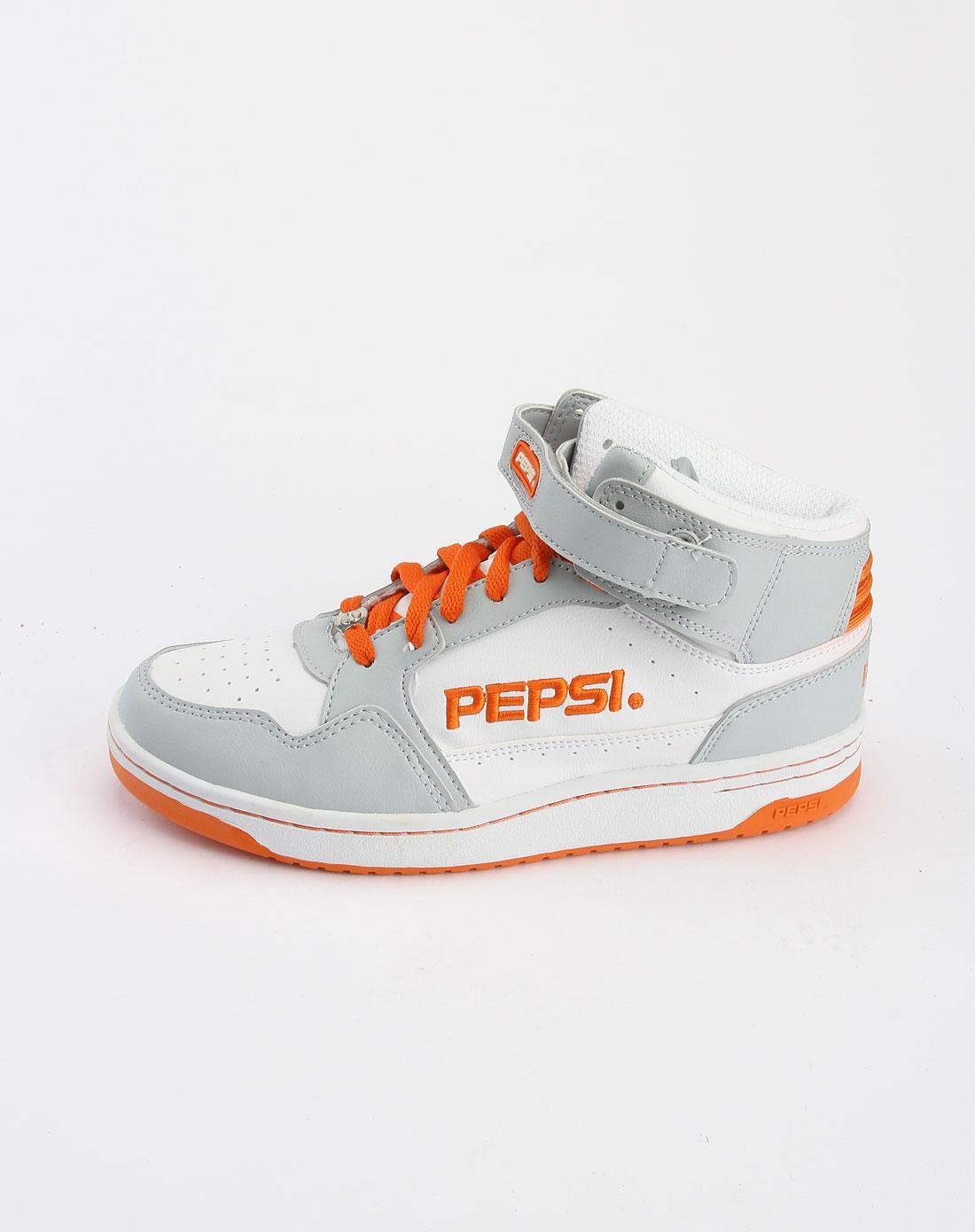 百事pepsi男女女款灰/白色绑带高邦时尚休闲鞋