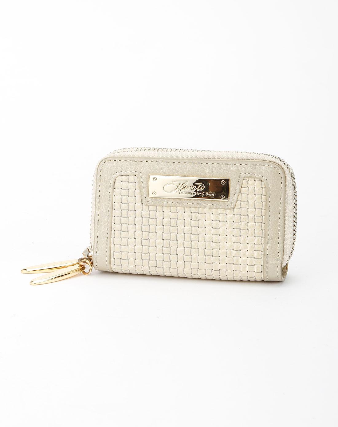 女款米白色编织纹零钱包