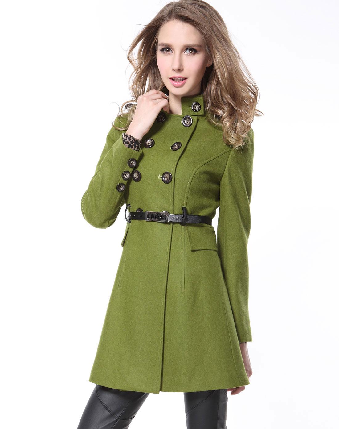 sa浅绿色双排扣腰带毛呢外套sd219857900a