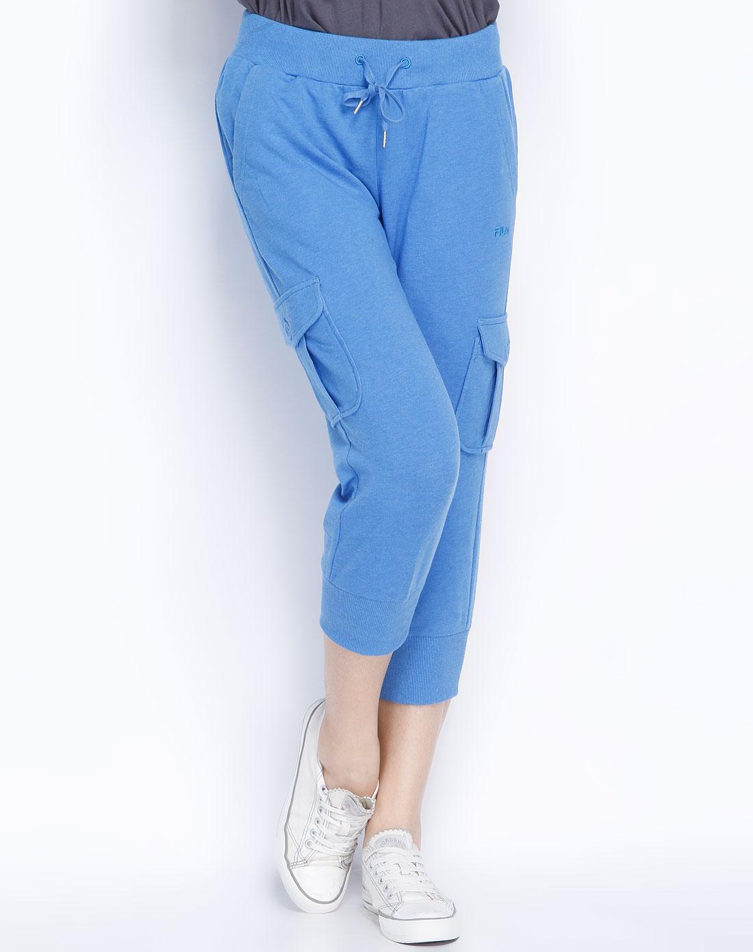 蓝灰针织七分裤