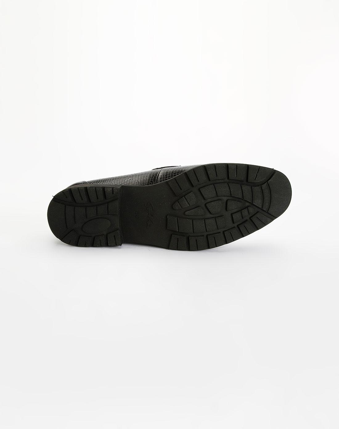 男款黑色蛇皮纹牛皮鞋