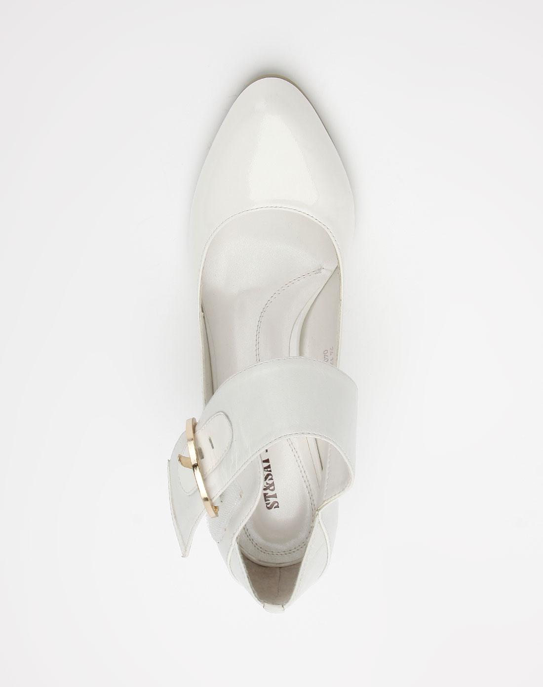 星期六st&sat白色高跟凉鞋