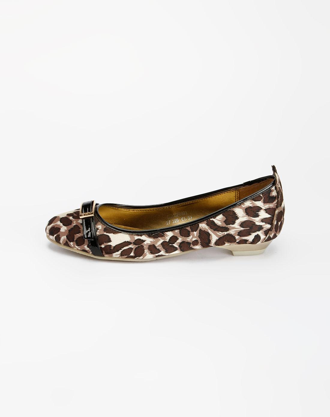 啡/杏色豹纹平底皮鞋