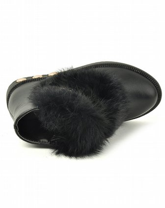 abckids男女童鞋女小童黑色二棉系列皮鞋p23122697