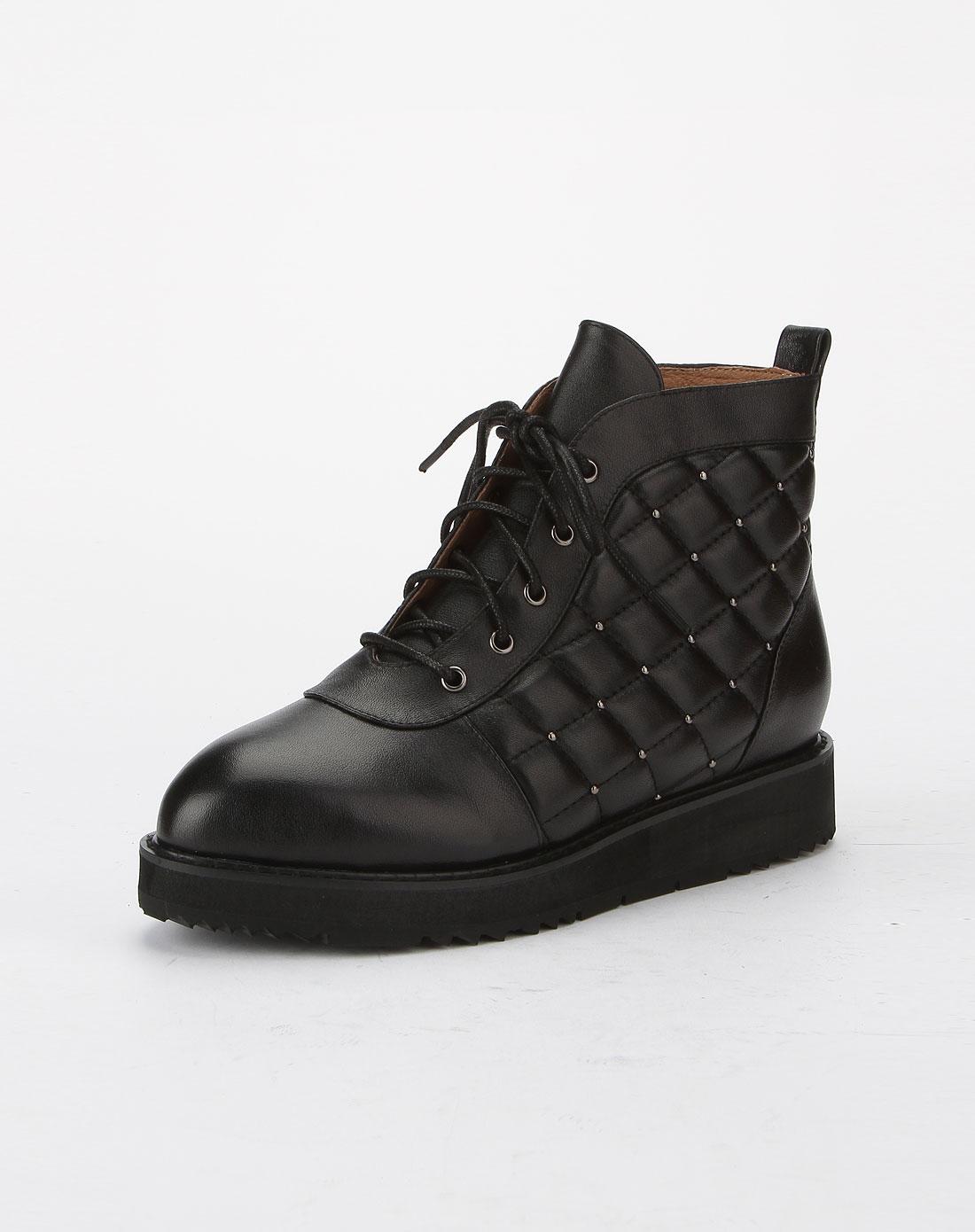 哈森旗下品牌女鞋混合专场-卡文女款黑色绑带格仔纹时尚厚底短靴