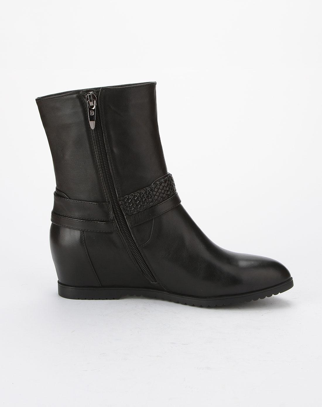 哈森旗下品牌女鞋卡迪娜女款黑色拉链时尚中跟短靴图片