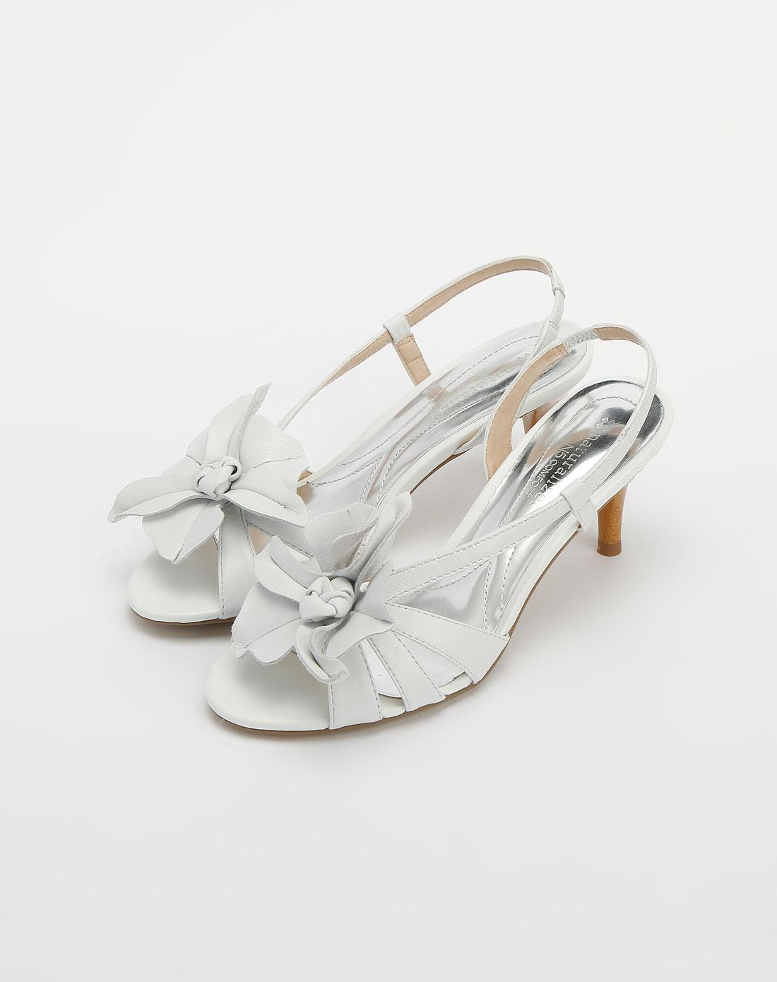 女款白色花朵高跟凉鞋_娜然nat