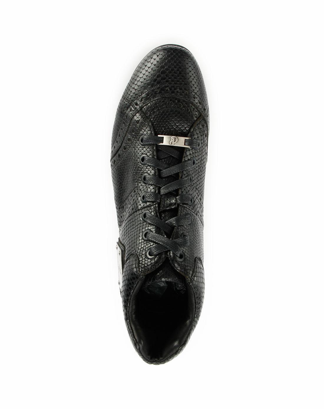 黑色高帮蛇纹系带休闲皮鞋