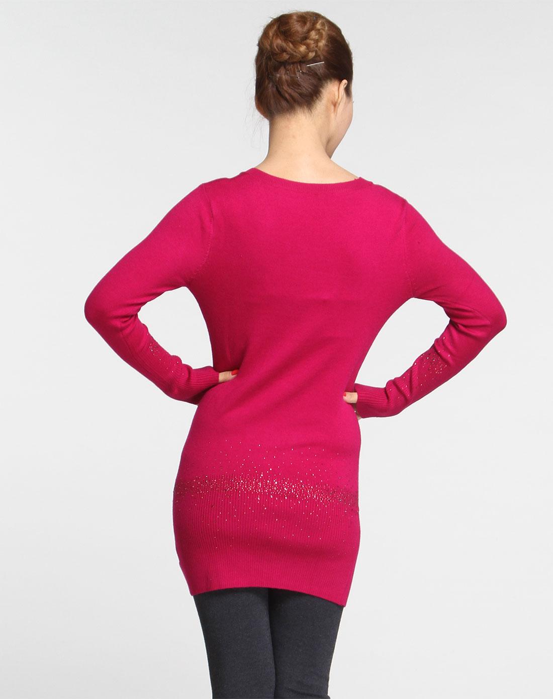 帕丝特pstl玫红色配色仿钻长袖针织衫540715306023