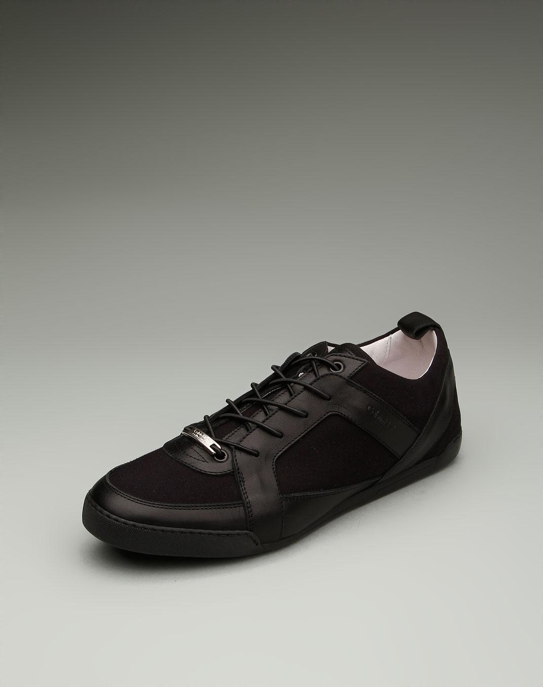 男款个性时尚系鞋带平底鞋黑色