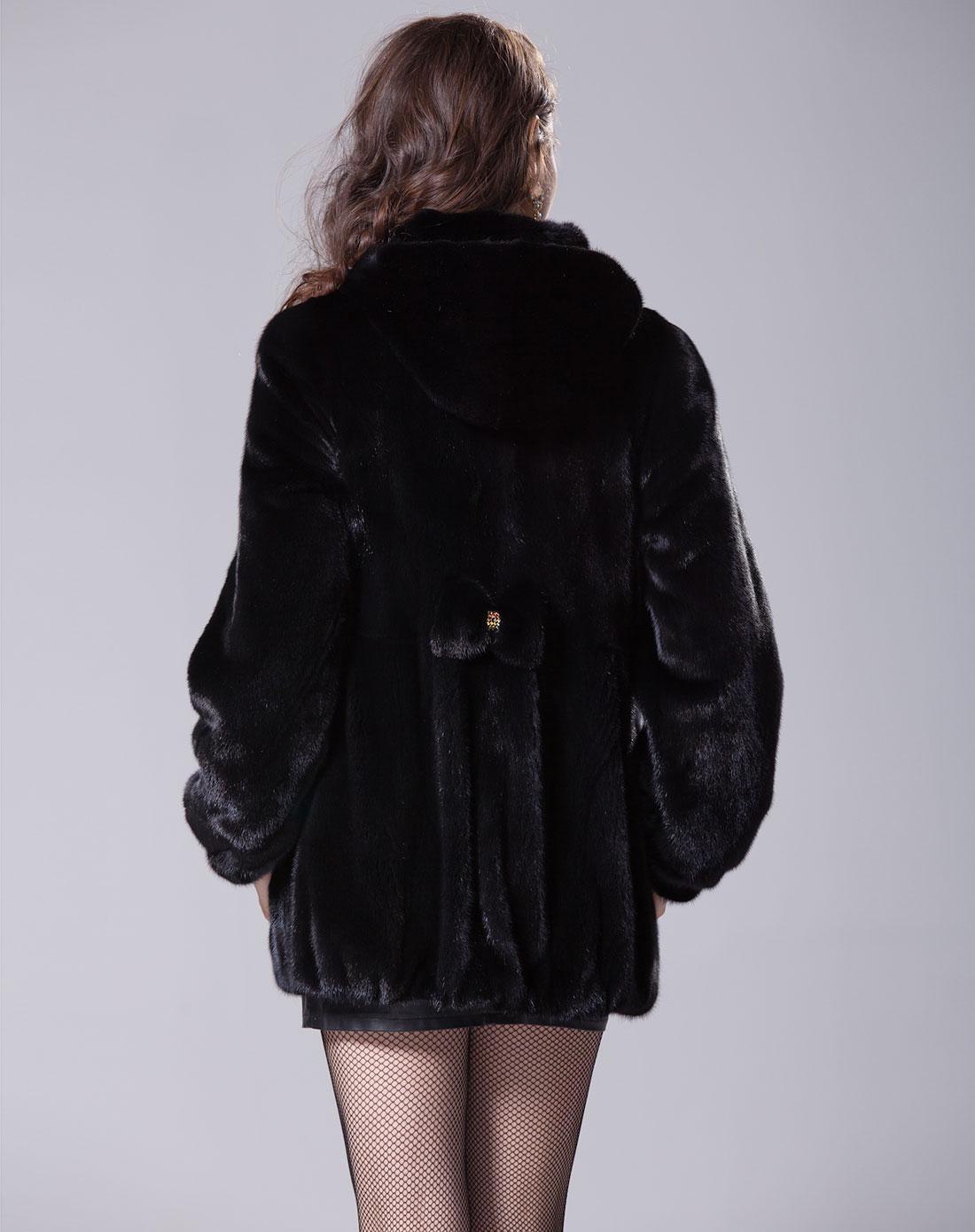时尚黑色连帽蝴蝶结中长款貂皮大衣