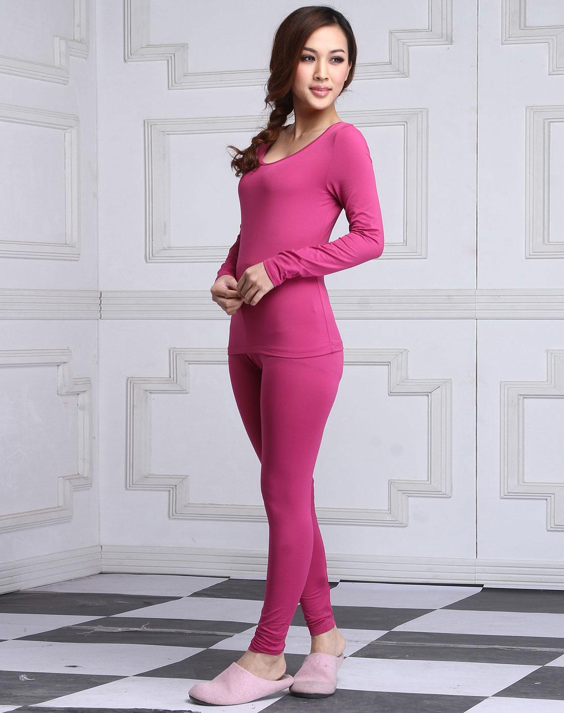 猫人miiow男女混合内衣专场女款紫红色长袖保暖内衣