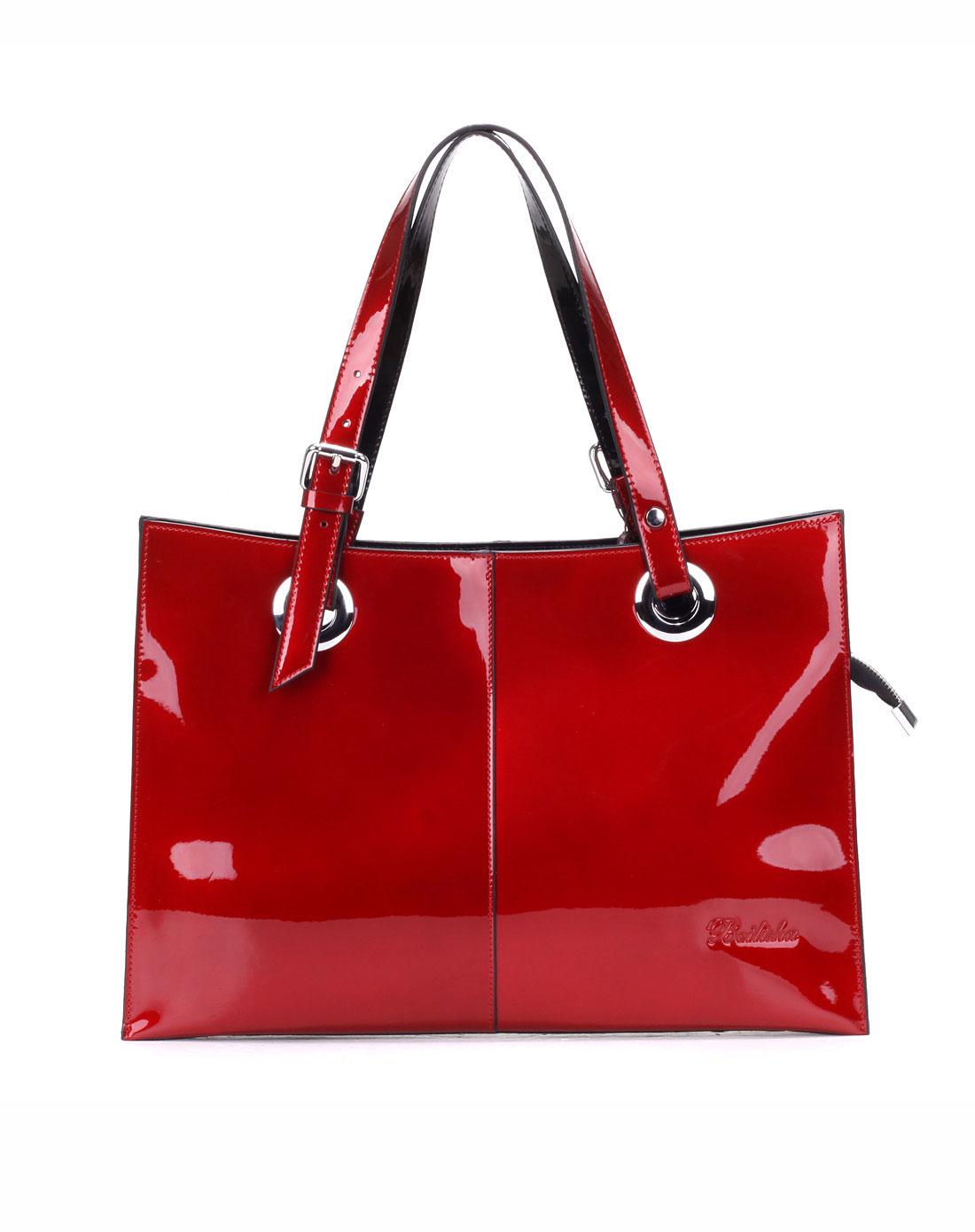 宾尼亚banlear男女包女款大红色简约亮丽薄款手提包