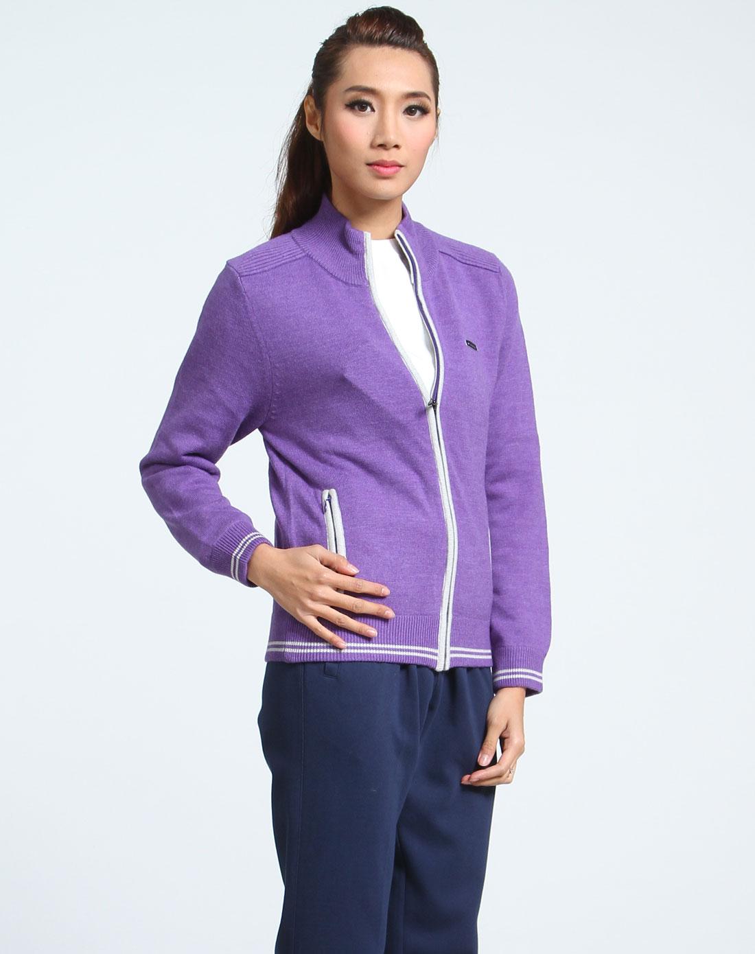 美津浓mizuno男女女款紫色长袖高尔夫毛衣开衫z32k