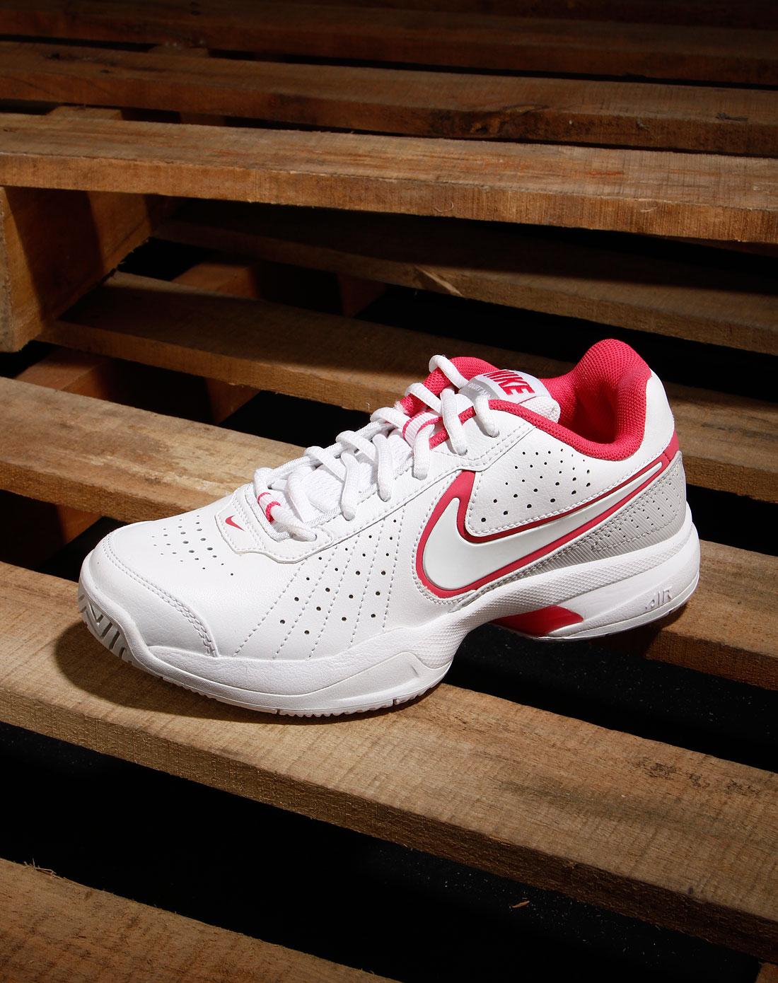 耐克nike女士专场-女款白/浅灰色绑带运动网球鞋