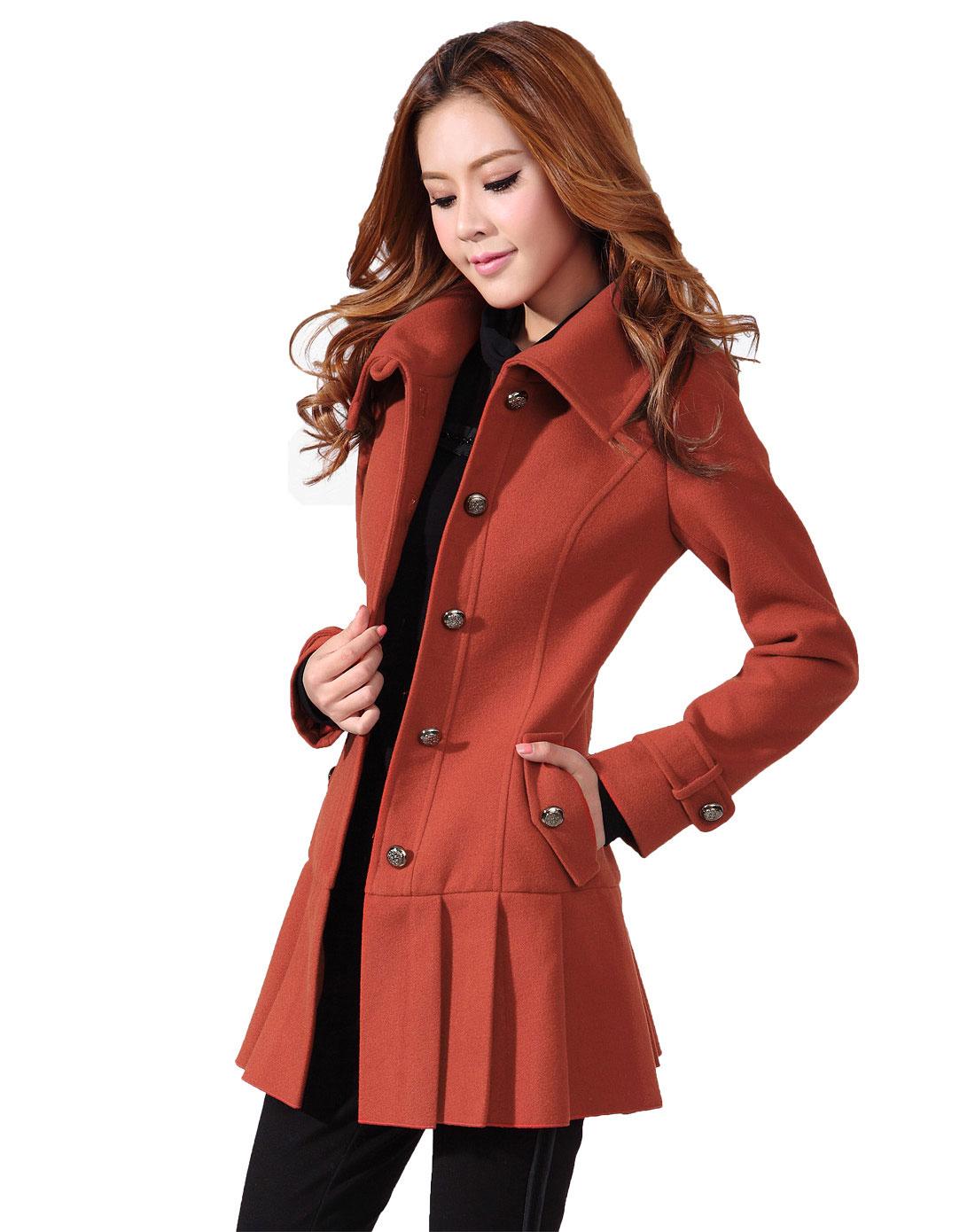 �9�+��ky����a_sa女橙红色时尚修身裙摆式大衣sd237364010a_唯品会