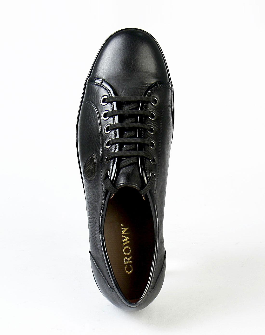 皇冠crown男款黑色时尚系列皮鞋12290057