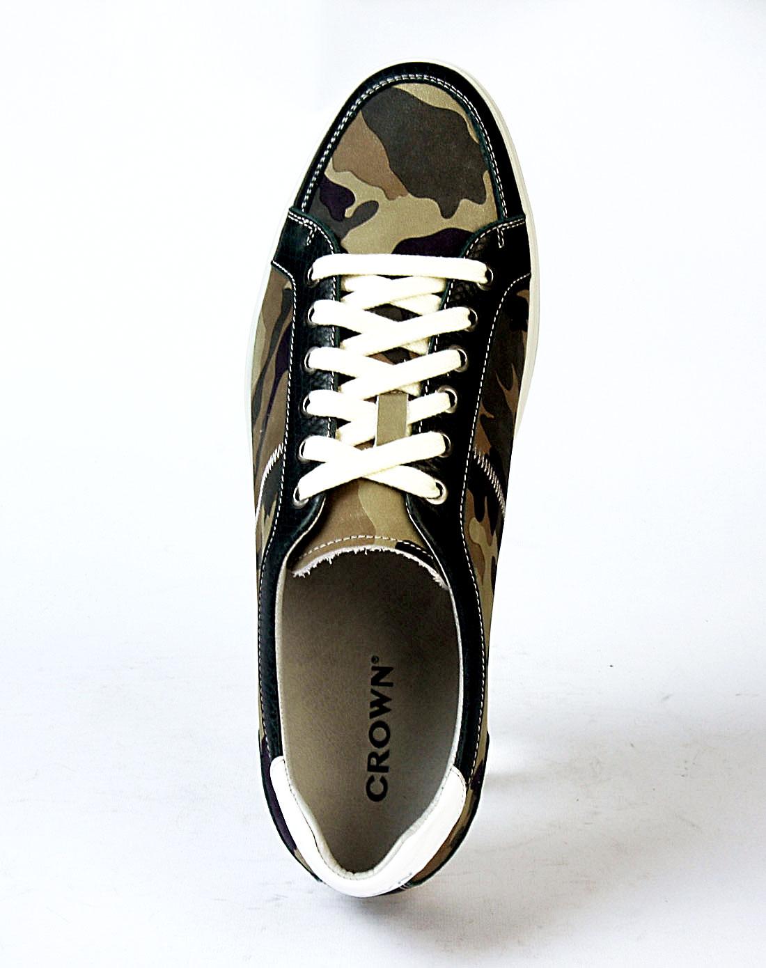 皇冠crown男款绿色时尚休闲鞋21150063