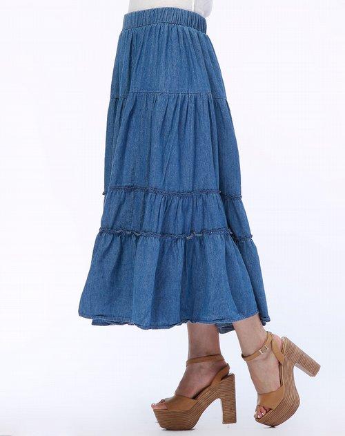 凯莫深蓝色牛仔蛋糕长裙