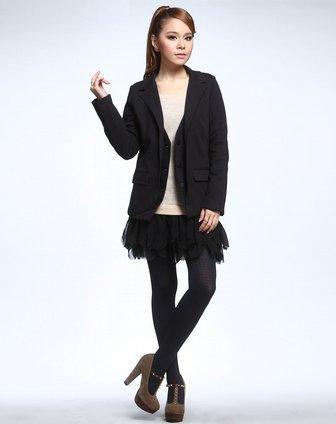 fish黑色时尚西装外套