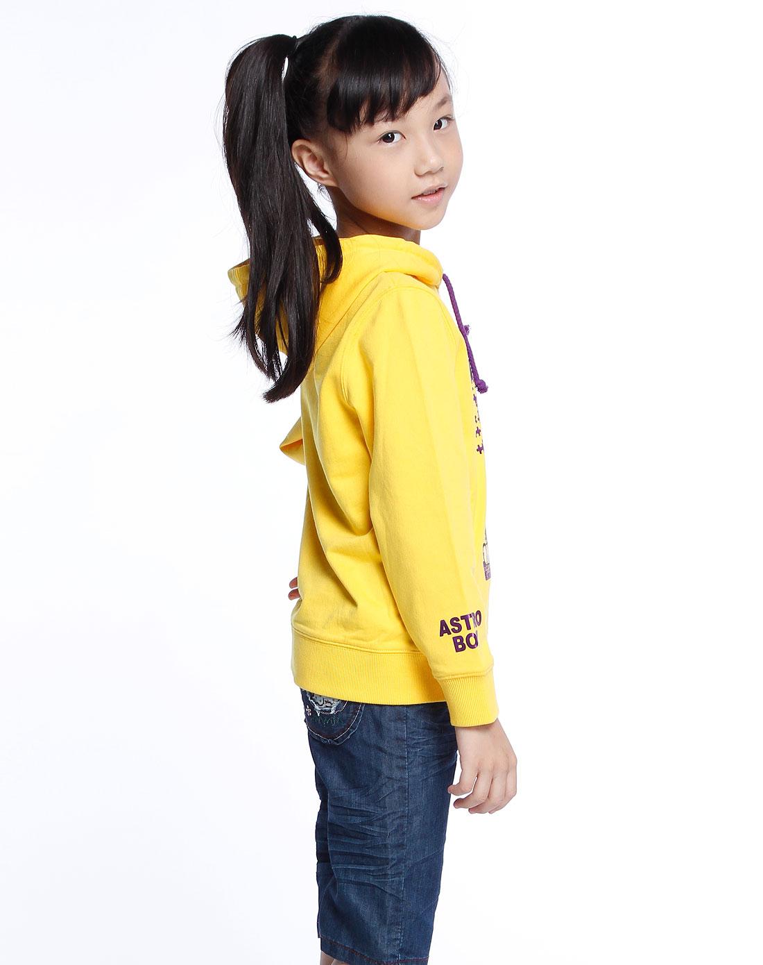 阿童木astro boy 女童黄色印图时尚长袖连帽卫衣