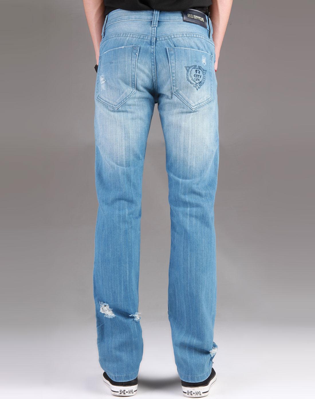 男款蓝色牛仔长裤_s2citylife特价2