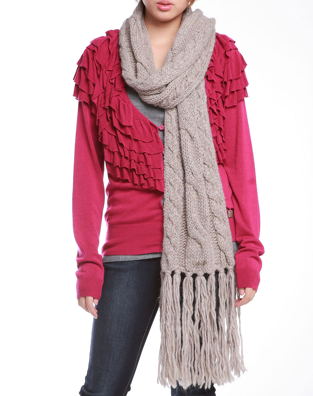 jo米色羊毛混合材质女式围巾