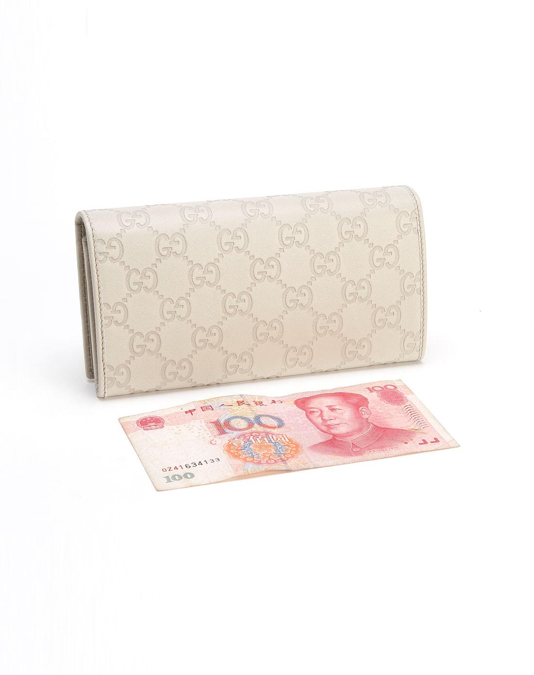 gucci钱包专场女款米白色印logo蝴蝶结钱包257005