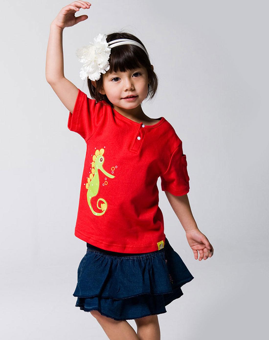女童红色短袖t恤_帝颂宝贝tresor