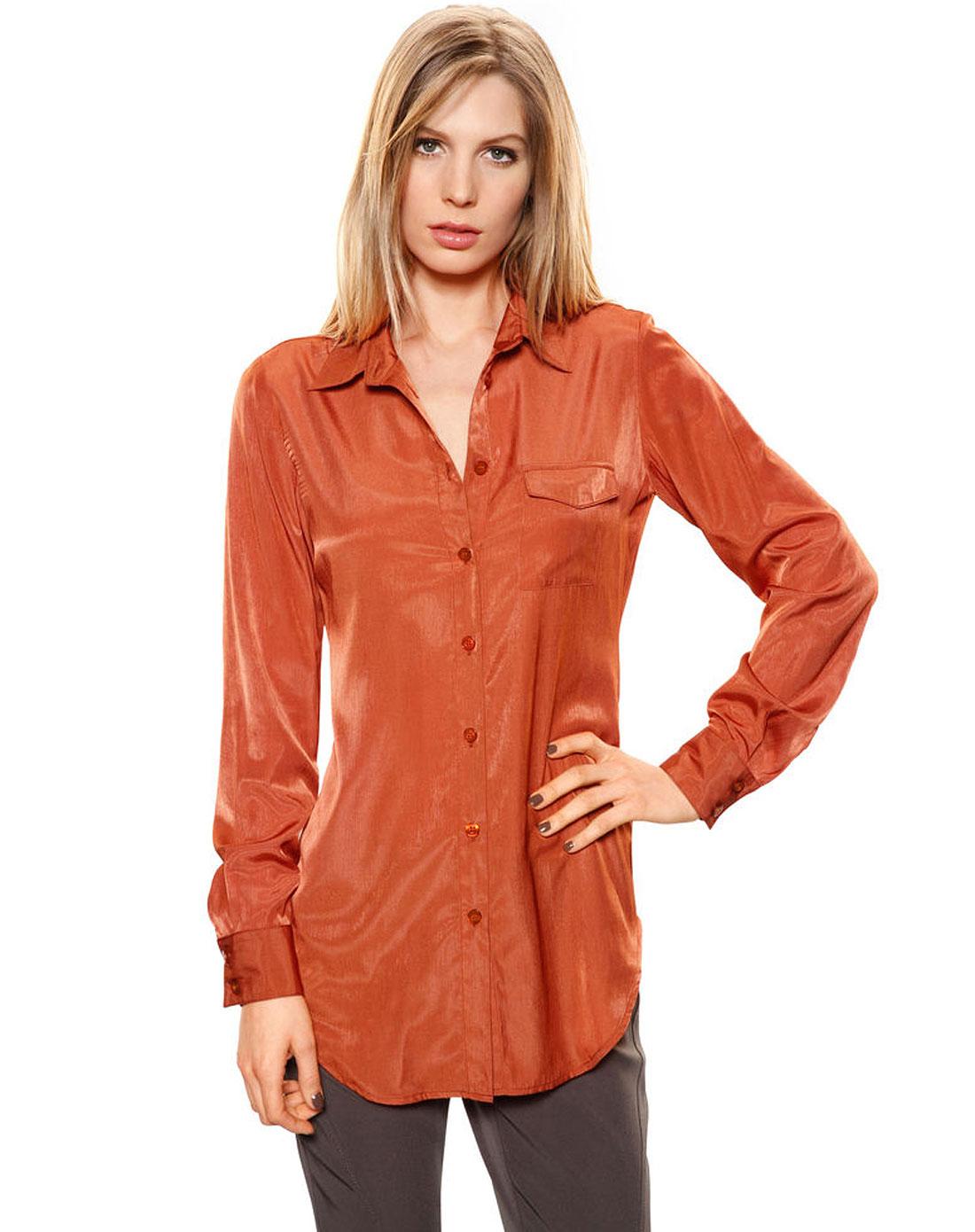e女款长衬衫深红色