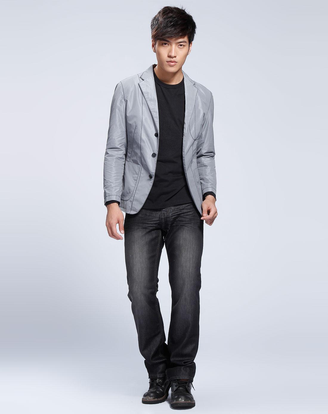 灰色格子休闲长袖西装外套