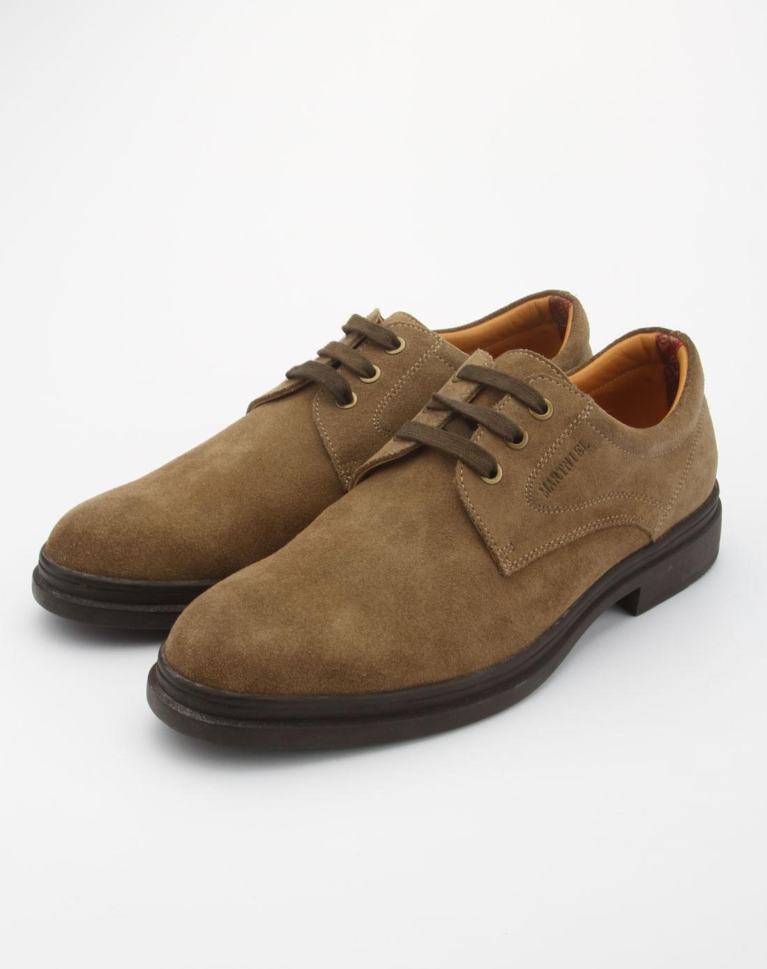 马内尔martniel男款卡其色系带休闲皮鞋m97341016