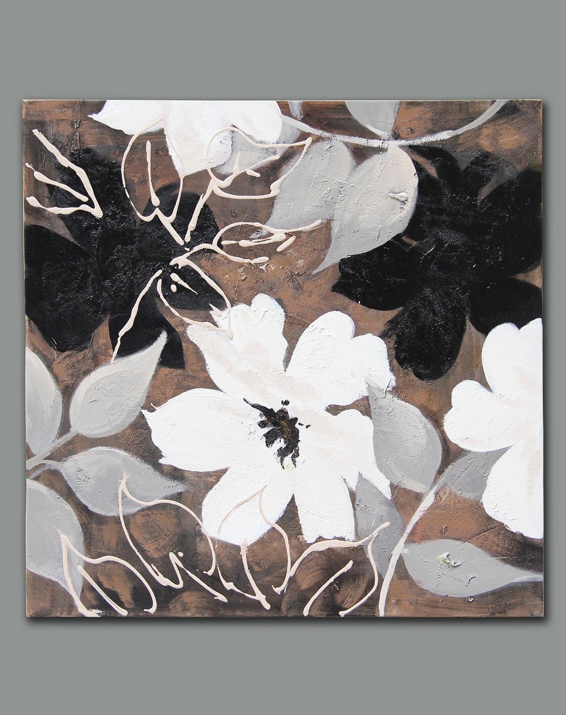 纯手绘内框油画-《黑白灰密语》