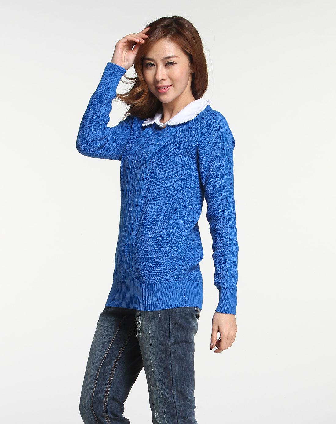 威丝曼wsm天蓝色花边领长袖针织衫nc010092b21