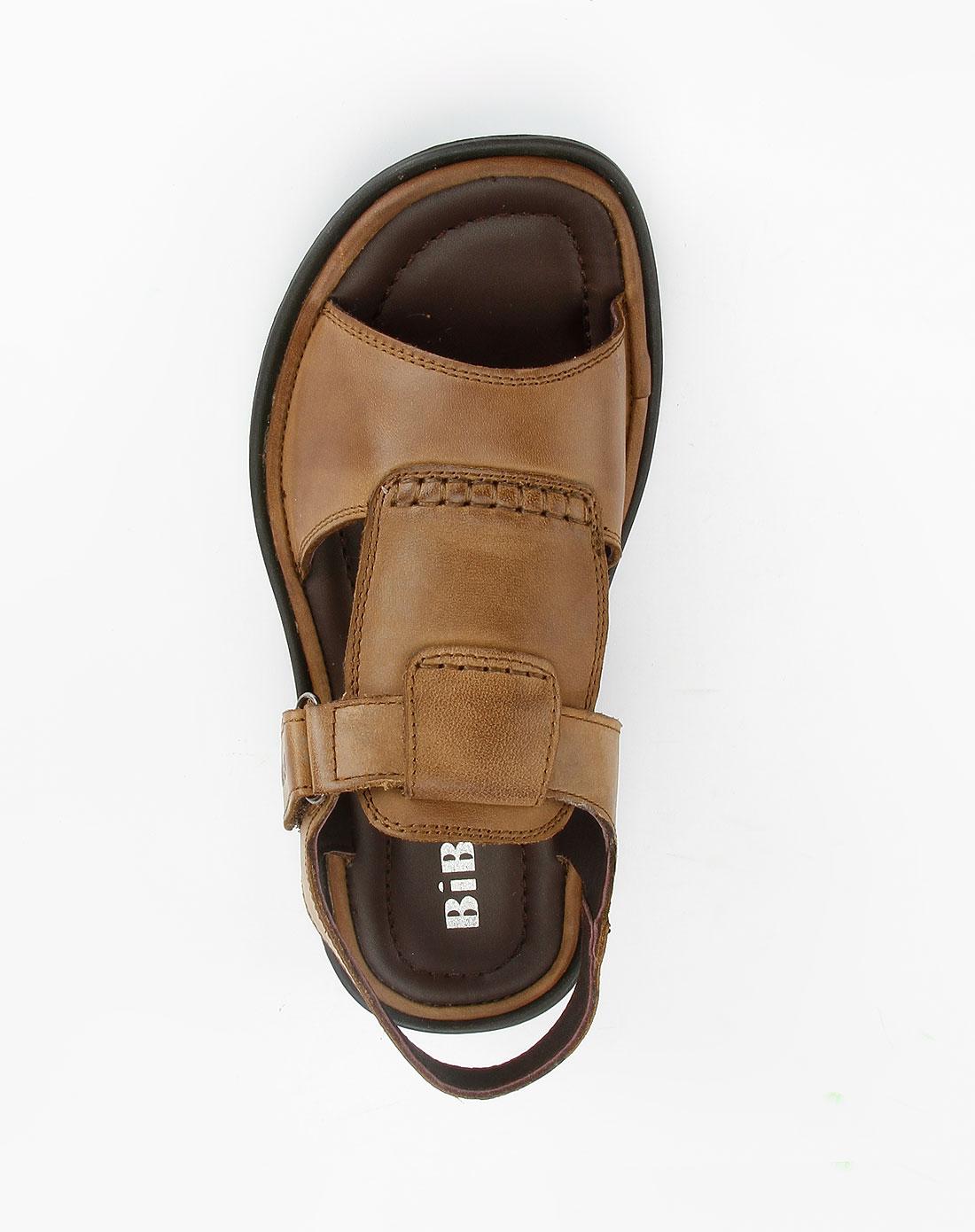 比比托bibito男款卡其色牛皮凉鞋